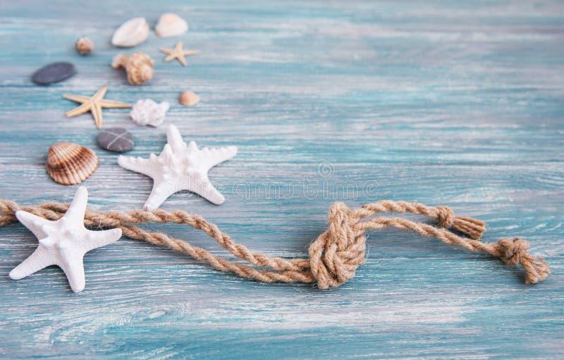 贝壳和海装饰与绳索 免版税库存图片