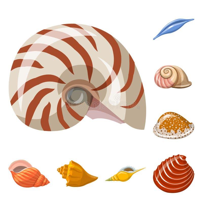 贝壳和软体动物商标的传染媒介例证 设置网的贝壳和海鲜股票简名 皇族释放例证