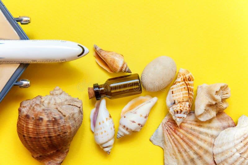 贝壳和飞机在黄色背景 免版税图库摄影