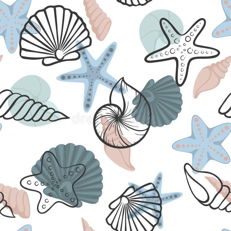 贝壳无缝的模式 为假日季节性暑假设计,夏天海滩党,游览的贺卡和邀请 皇族释放例证