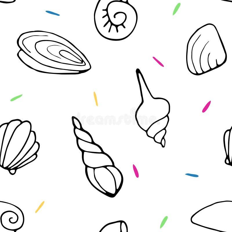 贝壳的无缝的样式 向量例证