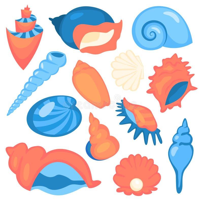 贝壳集合 海洋对象的汇集 星和螺旋 皇族释放例证