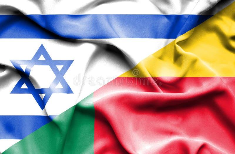 贝宁和以色列的挥动的旗子 库存例证