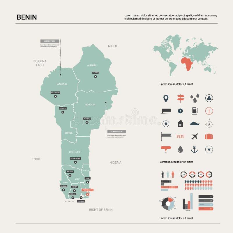 贝宁的传染媒介地图 与分裂、城市和首都波多诺伏的高详细的国家地图 E 皇族释放例证