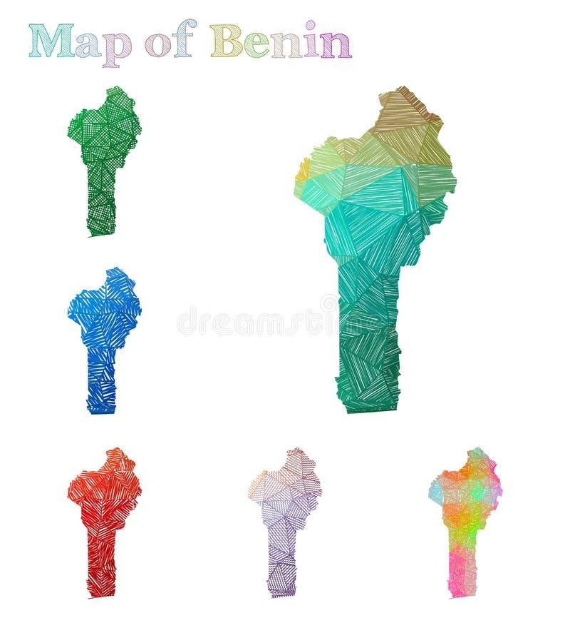 贝宁的手拉的地图 皇族释放例证
