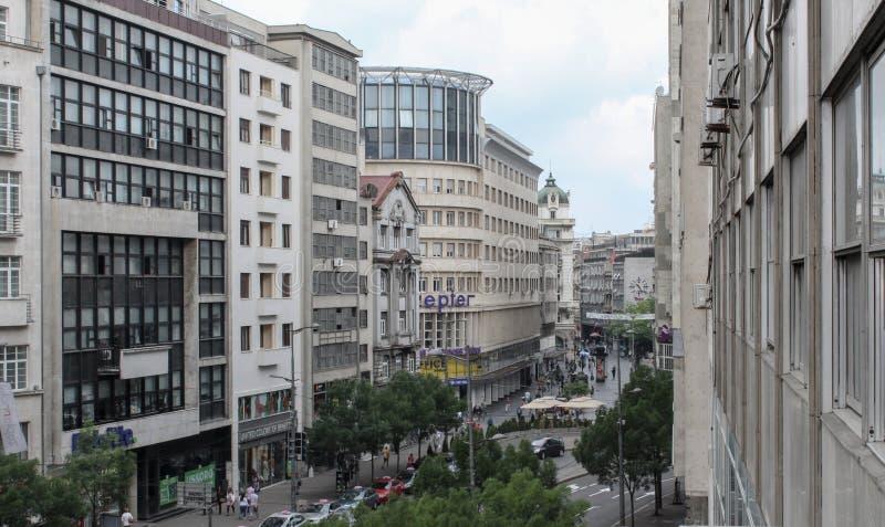 贝尔格莱德,塞尔维亚, 2017年5月23日,在Knez Mihajlova街道上的A视图 库存图片
