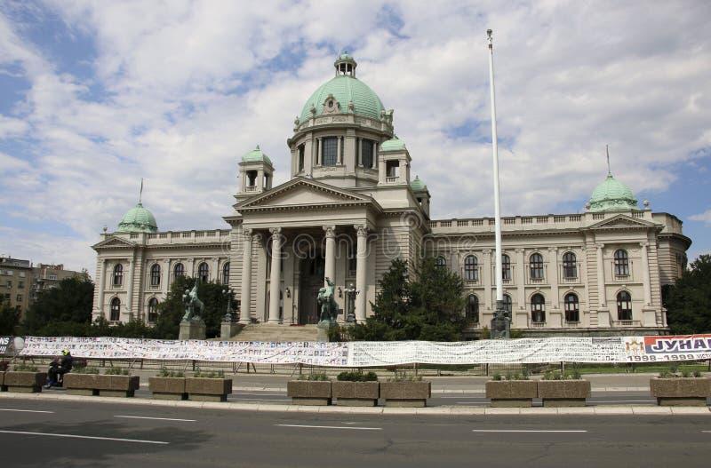 贝尔格莱德,塞尔维亚2019年6月06日:国民大会大厦的看法在贝尔格莱德,塞尔维亚 免版税库存图片