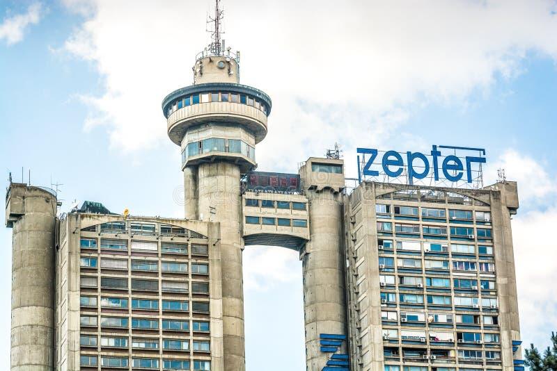 贝尔格莱德,塞尔维亚- 2017年5月27日 贝尔格莱德西大门是一个brutalistic塔由米海洛米特洛维奇 免版税图库摄影