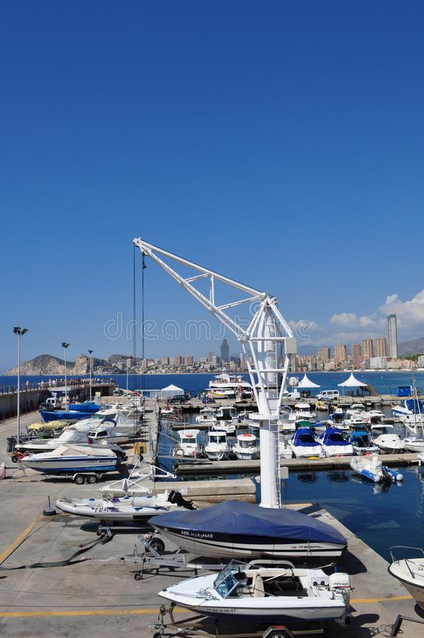 贝尼多姆,阿利坎特,西班牙港的看法  库存图片