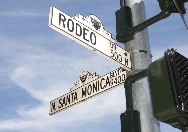 贝弗利加州推进小山圈地符号街道 库存图片