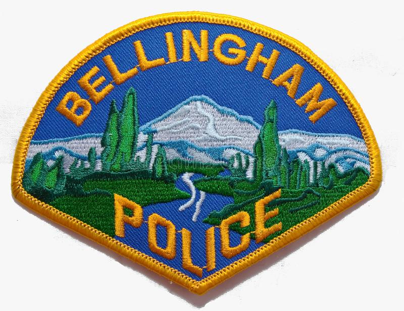 贝林罕警察局的肩章在华盛顿 免版税图库摄影