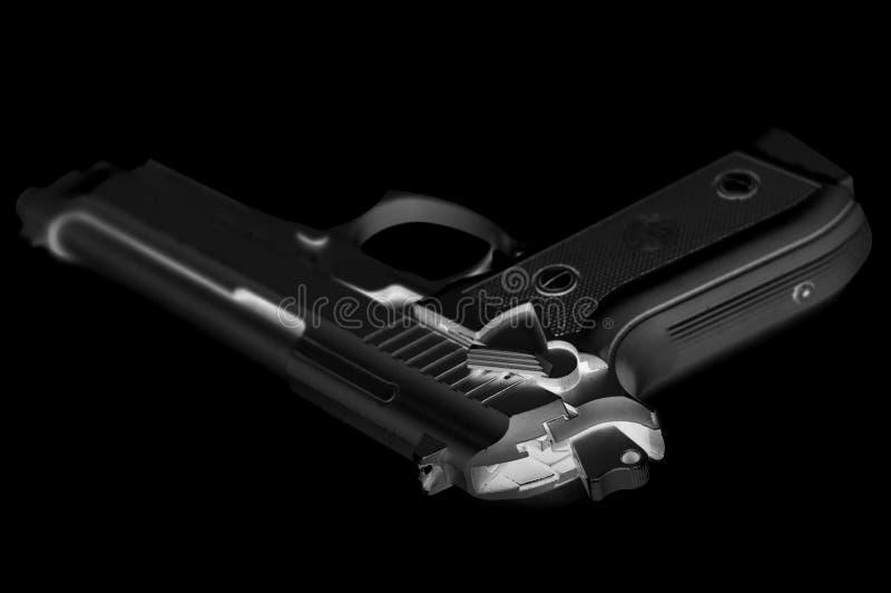 贝瑞塔92喷枪被倒置的黑色 免版税库存照片