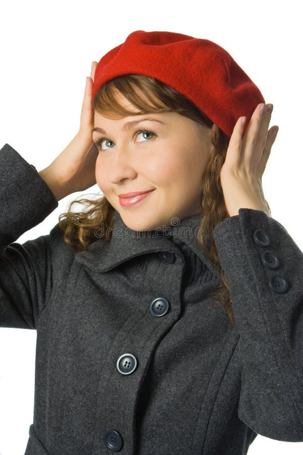 贝雷帽女孩红色 免版税库存照片