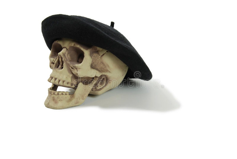 贝雷帽黑色头骨 免版税库存照片