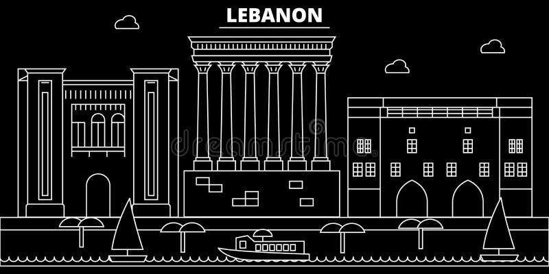 贝鲁特剪影地平线 黎巴嫩-贝鲁特传染媒介城市,黎巴嫩线性建筑学,大厦 贝鲁特旅行 皇族释放例证