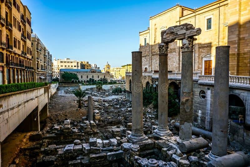 贝鲁特古罗马广场废墟03 免版税库存图片