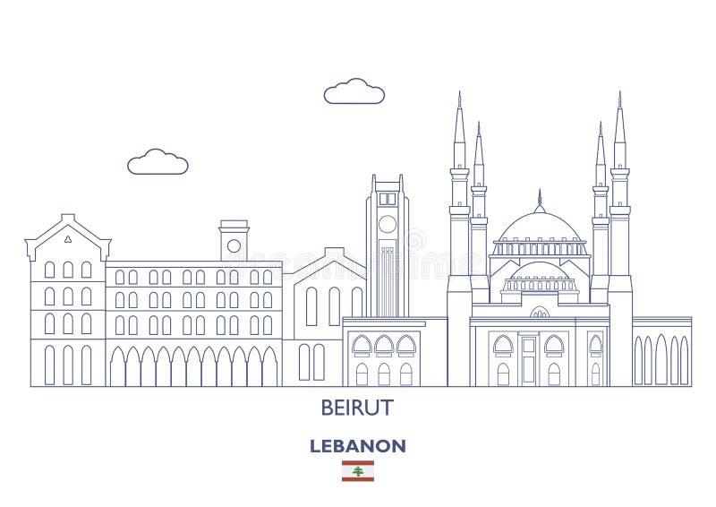 贝鲁特市地平线,黎巴嫩 皇族释放例证