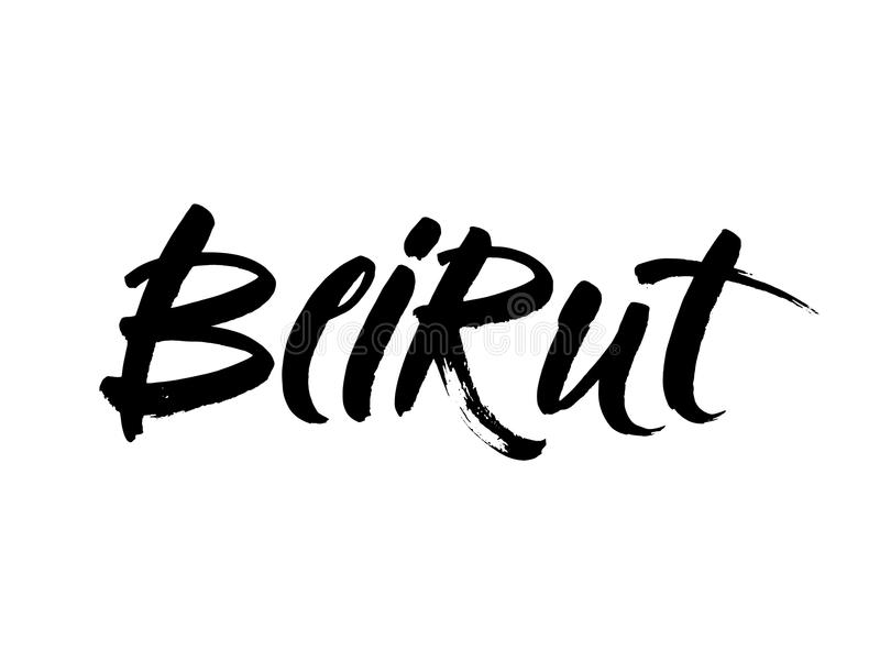 贝鲁特首都印刷术书信设计 手拉的刷子书法,贺卡的, T恤杉,明信片,海报文本 库存例证