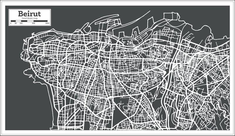 贝鲁特黎巴嫩在减速火箭的样式的市地图 皇族释放例证