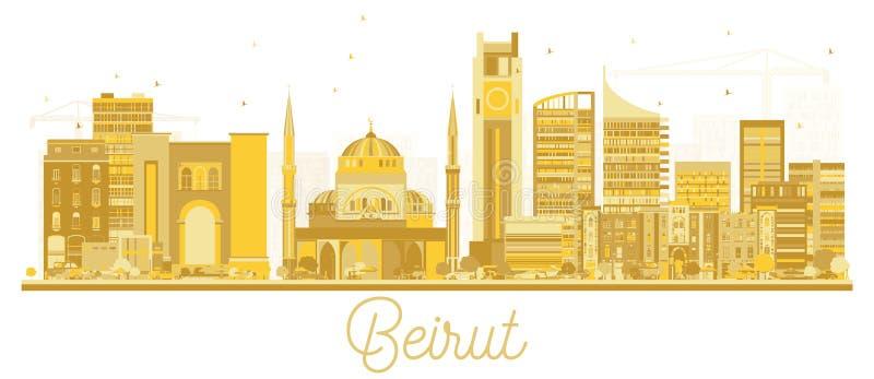 贝鲁特黎巴嫩市地平线金黄剪影 库存例证