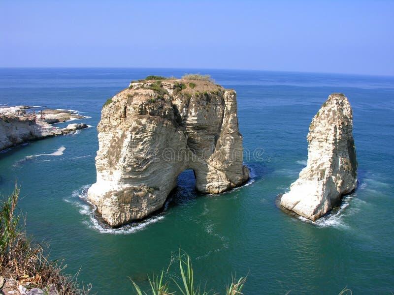 贝鲁特黎巴嫩raouche 免版税库存图片