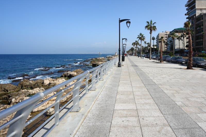 贝鲁特corniche黎巴嫩散步 免版税库存照片