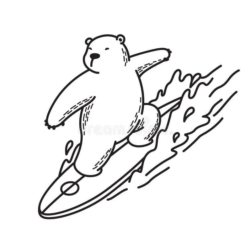负担传染媒介北极熊象商标例证字符动画片无缝的样式海浪海洋概述白色 库存例证