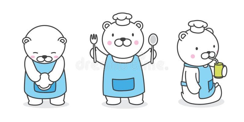 负担传染媒介北极熊象烹调面包店例证漫画人物的商标厨师 皇族释放例证