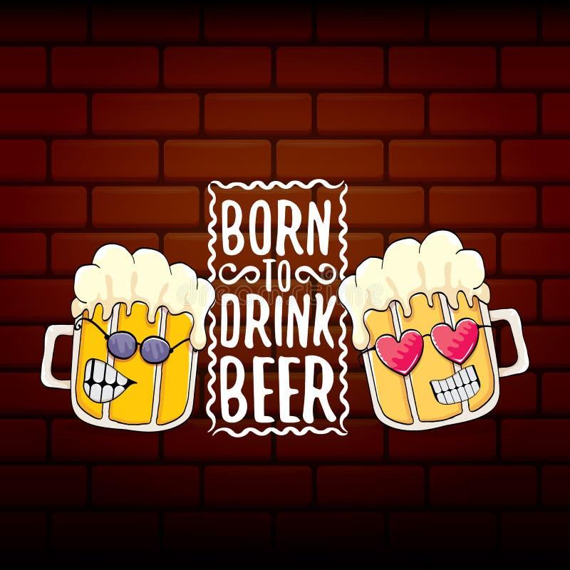 负担喝啤酒传染媒介概念印刷品例证或夏天海报 导航与滑稽的口号的质朴的啤酒字符为 皇族释放例证