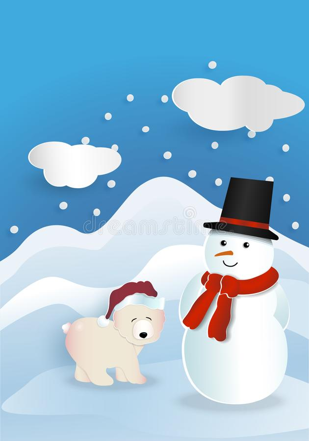 负担戴有佩带红色班丹纳花绸和黑色的雪人的红色帽子 皇族释放例证