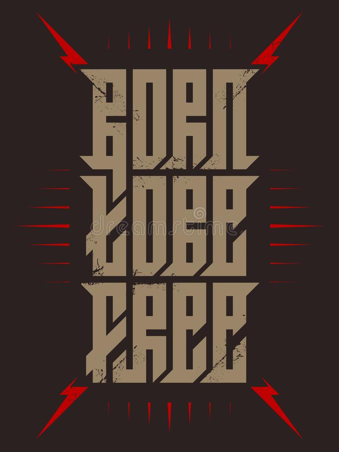 负担是自由的现代书法 丝屏罩打印的字法 贴纸 T恤杉的打印 向量例证