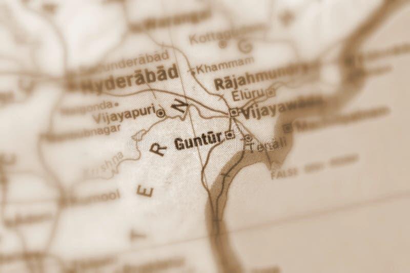 贡图尔,一个城市在印度 库存照片