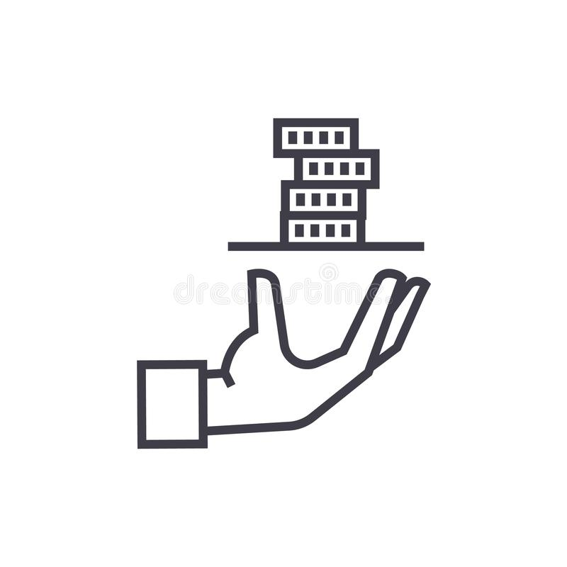 贡献者,有金钱传染媒介线的象,标志,在背景,编辑可能的冲程的例证服务手 库存例证