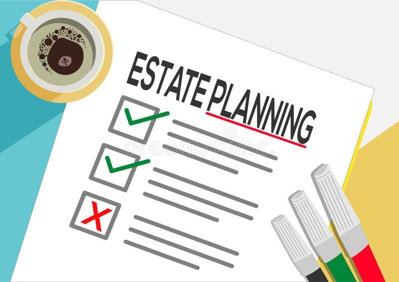 财产分配或计划象概念 一项任务发生了故障 与校验标志、抽象文本和标志的纸板料 向量例证
