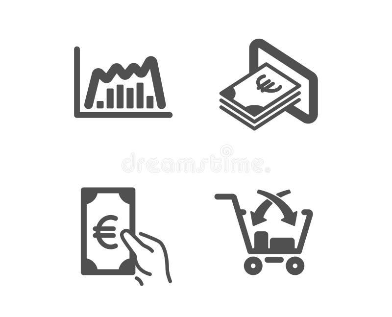 财务、现金和Infographic图表象 交互推销标志 Eur现金,Atm付款,线路图 市场零售 ?? 库存例证