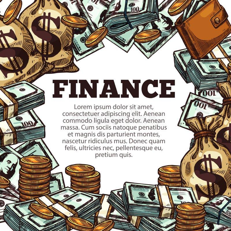 财务与金钱剪影框架的企业海报 皇族释放例证