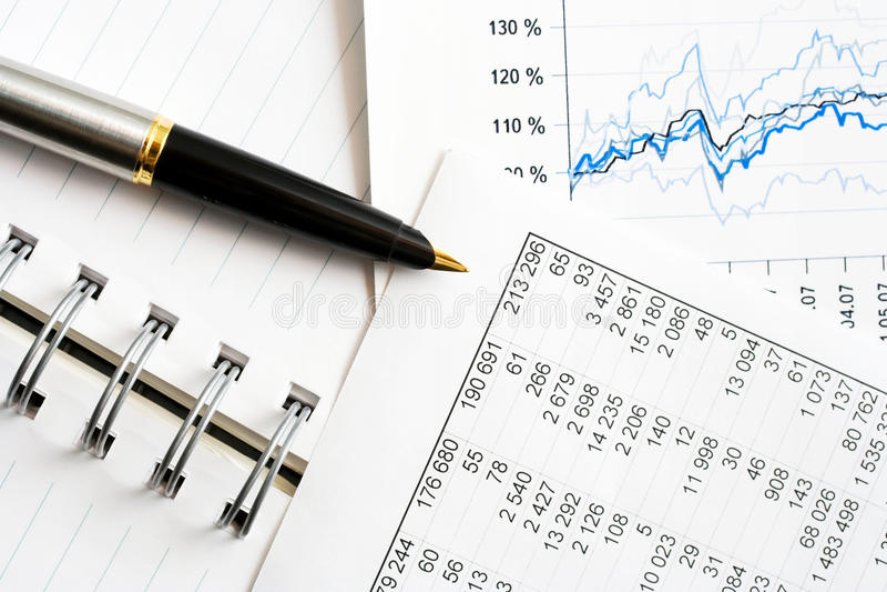 财务分析的数据 库存图片
