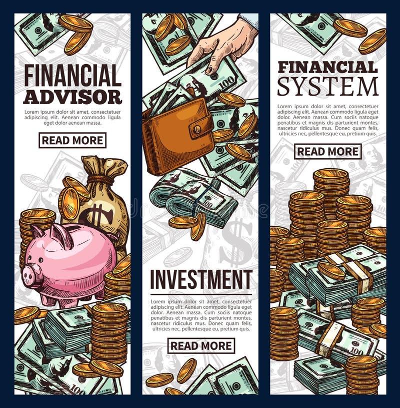 财务和投资与金钱的企业横幅 向量例证