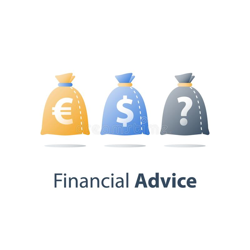 财务多样化,金融证券,汇兑,基金管理,资本投资,财产分派 皇族释放例证