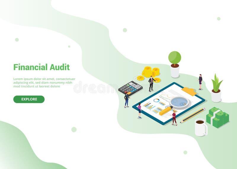 财务审计网站模板或登陆的主页横幅的-传染媒介概念模板 库存例证