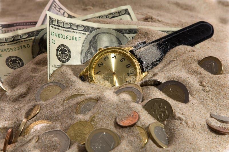 财务时钟的危机 图库摄影