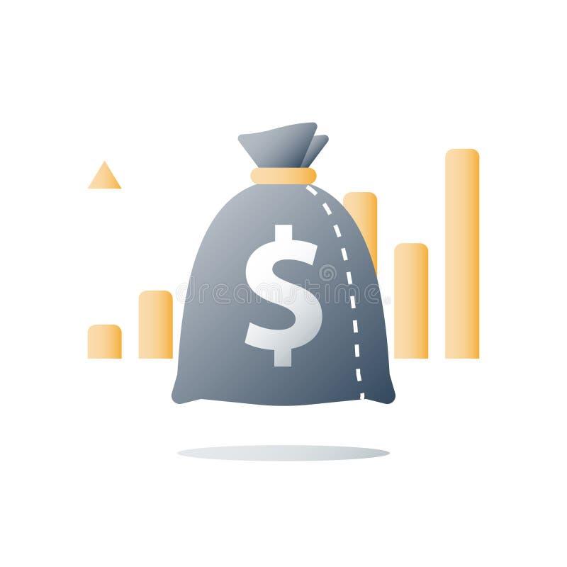 财务概念,快的金钱,快速的现金贷款,投资资金,预算计划,股票市场,财富管理,价值投资 向量例证