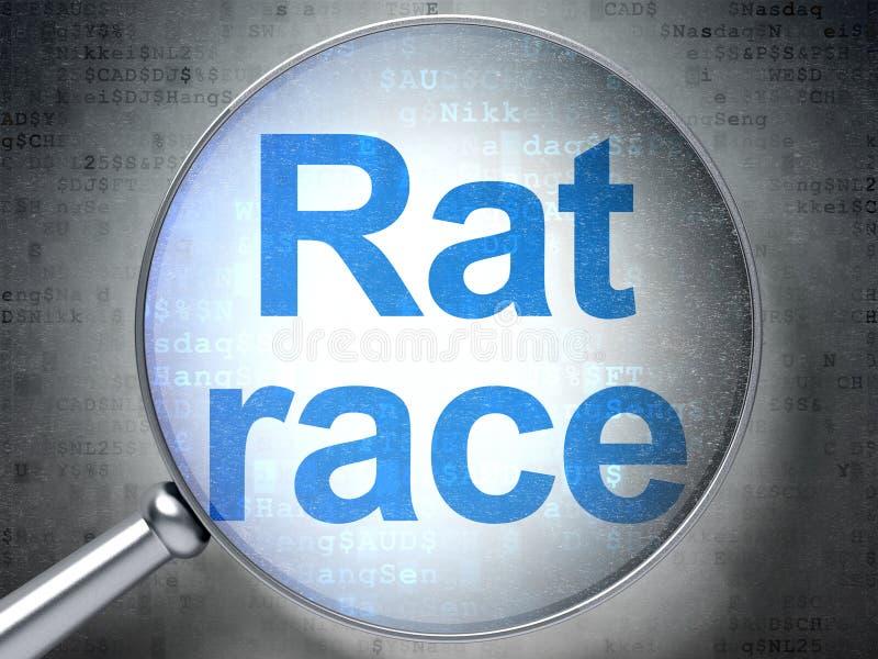 财务概念:与光学玻璃的老鼠赛跑 图库摄影