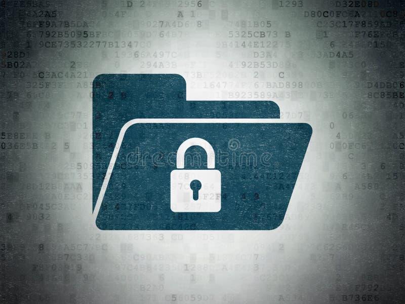 财务概念:与锁的文件夹在数字资料裱糊背景 库存例证