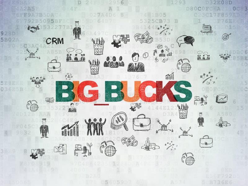 财务概念:在数字资料纸背景的大钱 向量例证