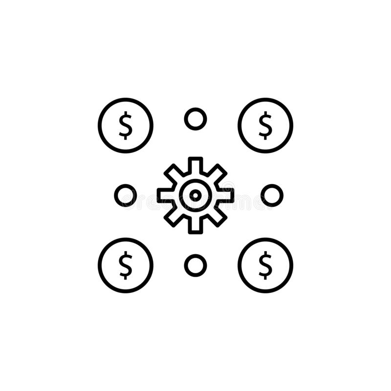 财务活动,金钱,投资,收入,风险象 金钱多样化例证的元素 标志和标志象为 库存例证