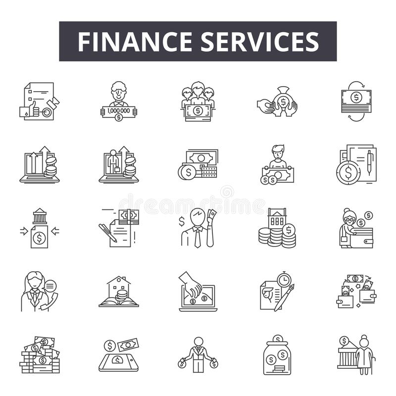 财务用户线路网和流动设计的象 编辑可能的冲程标志 财务服务概述概念 库存例证