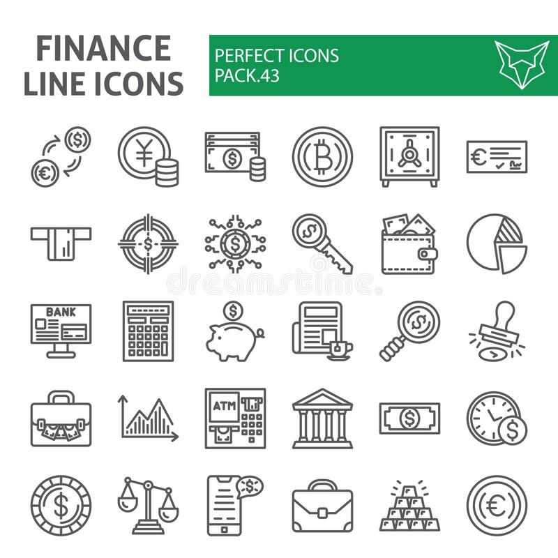 财务线象集合,金钱标志汇集,传染媒介剪影,商标例证,银行业务标志线性图表 皇族释放例证