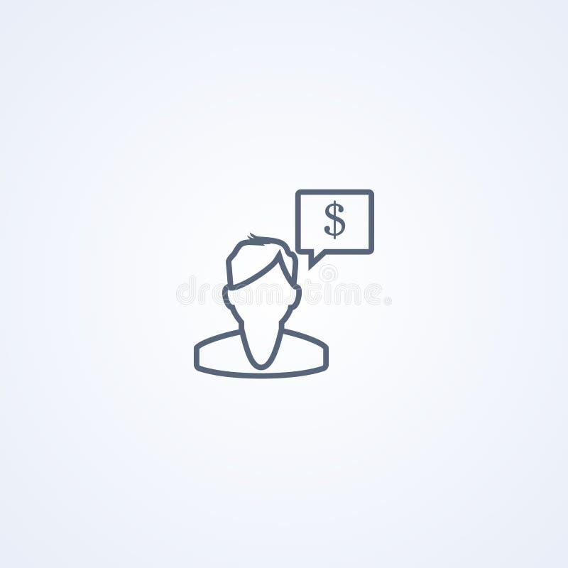 财务经理,货币管理,传染媒介最佳的灰色线象 库存例证