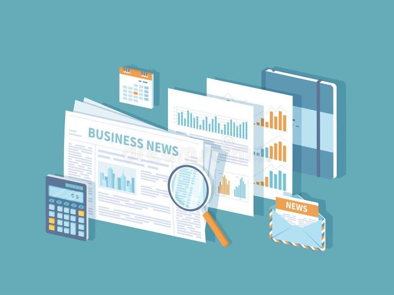 财务逻辑分析方法投资计划的信息咨询的管理分析的商业新闻概念 报纸,文件 向量例证